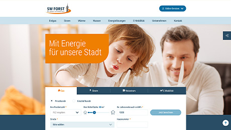 Screenshot der Website der Stadtwerke Forst