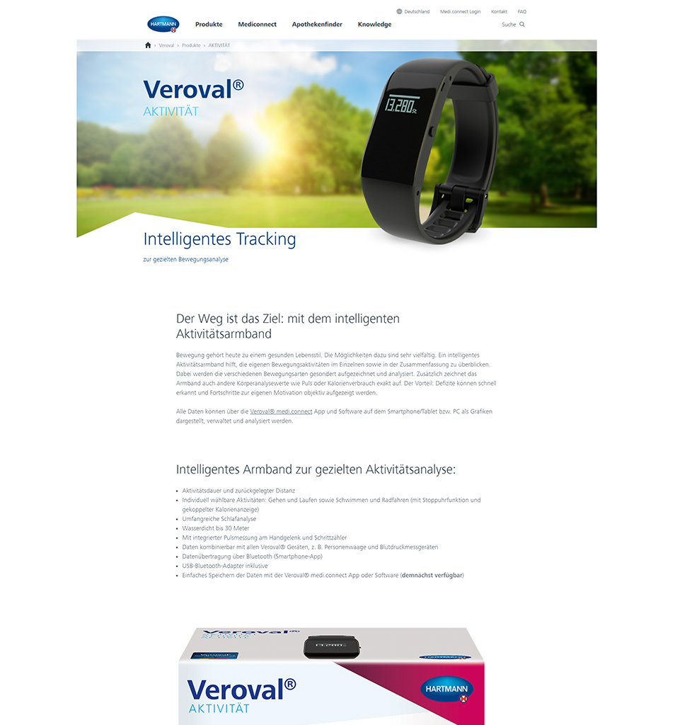 Screenshot der Veroval Website der Firma Hartmann